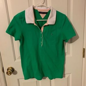Tommy Hilfiger Green and White Polo size Med